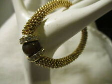 AVON Inner Balance Stretch Bracelet Goldtone w/Faux Brown Stone & Rhinestones