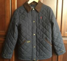 POLO RALPH LAUREN BOYS NAVY QUILTED  BARN COAT JACKET SIZE  L 14-16 EUC