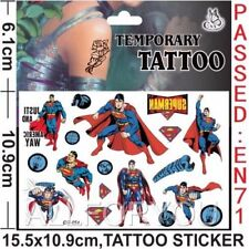 NEW Superman Temporary Tattoo Sheet Children Kids Birthday Party Bag Filler