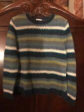 Christopher & Banks Women Pullover Shimmery metallic Stripe Blue Sweater Large L