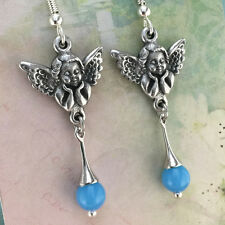 Angel Earrings with Blue Glass Crystal
