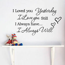 Removable I Love You Quote Word Decal Vinyl DIY Home Decor Art Wall Stickers New