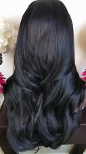 Beautiful Off Black Lace Front Wig Long Wavy Heat Safe