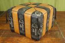 60er Vintage Tabouret Pouf Coussin de Siège Pouf Cognac Cuir Ottoman Tabouret
