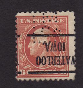 Precancel 6 cent Washington Waterloo Iowa with Perfin Stamp *0034