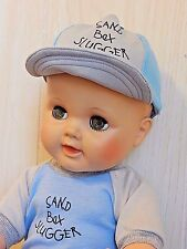 """Vintage 19"""" All Vinyl Drink/Wet Baby Doll w/Molded Hair, Boy Baseball Outfit"""