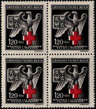 ✔️  GERMANY BOHEMIA MORAVIA 1943 WWII NAZI RED CROSS SC. B21 ** MNH BLOCK OF 4
