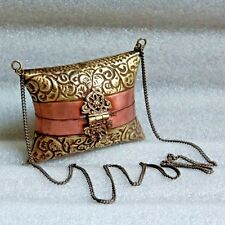 Old 1920s Antique Beautiful Hand Carved Copper Brass Small Lady Hand Bag / Purse