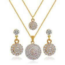 White Rhinestone Gold Plated Stud Earrings Double Pendant Necklace Jewelry Sets