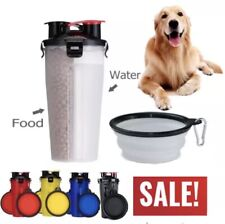 2in1 Water/Food Bottle & Collapsible Bowl Drinking Travel Outdoor Pet Cat Dog