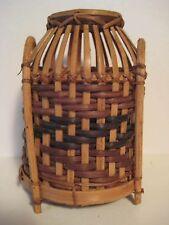 "Original Wood Guam Wicker Hand Woven Basket Trinket Stash Container 5X4"""