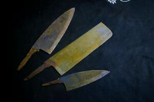 Japanese Kitchen / Chef knives *Blade only* 3 x Assort for refurb. Japan 1876