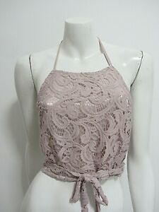 TREE OF LIFE one sz (up to 16) lined lacy stretchy pink crop top AS NEW