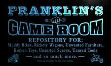 x0216-tm Franklin's Garage Game Room Custom Personalized Name Neon Sign