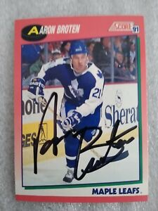 Aaron Broten Signed 1991 Score #250 Card Toronto Maple Leafs Autographed Red