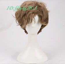 Men Short curly Wig Brown gradient Synthetic Natural Full Wigs +a wig cap