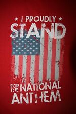 I Proudly Stand for the American National Anthem- Long Sleeve T-Shirt, Red Large