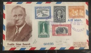 1948 Panama First Day Airmail Cover FDC To New York USA Roosevelt #366/70