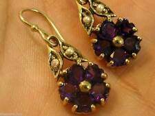 E086- Solid 9K Gold Natural Amethyst & Pearl Blossom Earrings Dangle drop Heart