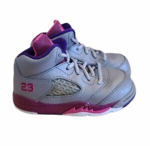 AIR Jordan 5 Retro Size 6C Gray/Pink/Purple Kids Toddler HiTop