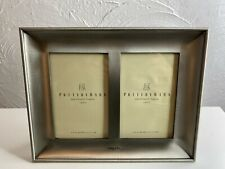 "Pottery Barn Table Shelf Frame Double 4 x 6 Mat Pewter Colored ""Angels"""