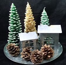 Christmas Candles Winterscape Green Gold Pine Tree Houses Cone Mirror Holiday