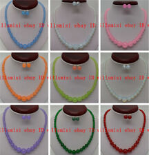 Wholesale 6-14mm Natural Round Gemstone Beads Necklace Stud Earrings Set 18''