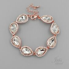 ROSE GOLD Plated Pear Clear Crystal Rhinestone Wedding Tennis Cuff Bracelet 2276