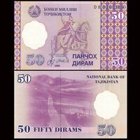 Tajikistan 50 Diram Banknote, 1999, P-13, UNC, Asia Paper Money