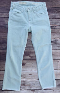 Anthropologie Pilcro Script Cropped Jeans 26 Mid Rise Mint Green Raw Hem
