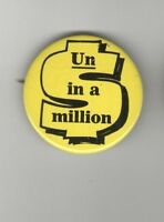 1960s pin SEVEN-UP 7UP pinback Un ( One ) in a Million DOLLAR $ Sign Logo