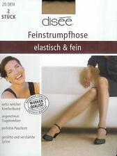 ELASTISCH+FEIN  2 Strumpfhosen, transparent - 20den, puder, 46-48  *disee*