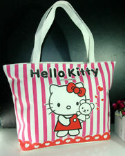 Hello Kitty Pink And White Striped Zipper Bag Handbag Shoulder Tote Bag