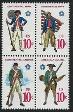 1975 Continetal Uniforms Bicentennial United States Postage Stamps Block 4 S028