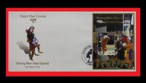 158.BHUTAN 2014 STAMP M/S STRONG MEN (NYA - GYOES) OF BHUTAN FDC