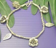 THAI KAREN HILL TRIBE 98% SILVER Handmade ROSE FLOWER LEAF Bracelet  B030