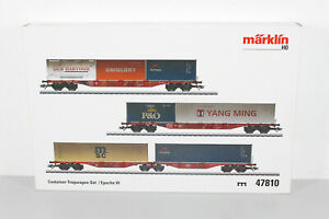 Märklin 47810 H0 AC Container-Tragwagen-Set der DB, Ep. VI - OVP (MM199)