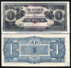 MALAYA 1 DOLLAR P M-5 1942 *MO* UNC MALAYSIA JIM WAR MONEY JAPAN OCCUPATION NOTE