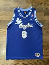 Vintage Nike KOBE BRYANT #8 Los Angeles LA Lakers Blue Script Jersey Youth Large