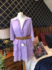 ZARA Lilac Pleated Dress With Belt Frill Hem MEDIUM BNWT V Neck