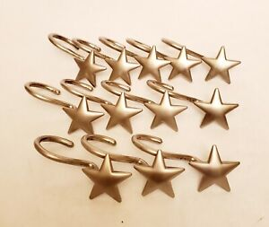 Star Shower Curtain Hooks Patriotic Western Brushed Nickel Metal 5 Point Set 12