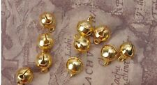100pcs Gold plated Loose Beads Christmas Jingle Copper Bell Pendants 7x10mm