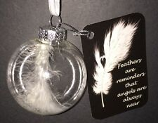ANGEL FEATHER ORNAMENT WITH GLITTER & ANGEL FEATHER MESSAGE TAG~NEW