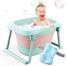 Baby Bath Tub Folding Infant Bathtub Portable Toddler Bath Support with Cushion