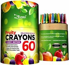 60 Crayons Box Colored Scented Crayon Bulk Pack - 10 Juicy Fruity Scents for Kid