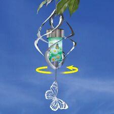 Solar Lighted Spiral Butterfly Garden Patio Wind Spinner Mobile