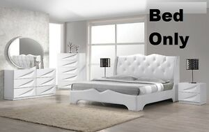 Modern 1Pc Bedroom FurnitureCal King Size Bed Headboard Leather Crystal Exterior