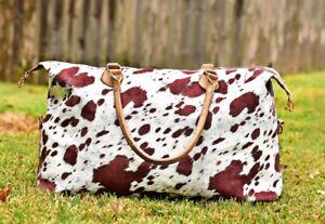 Brown Cow Print Weekender Bags