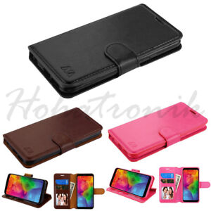 LG Q7 & Q7+ Leather Flip Wallet Phone Case Cover Protector Card Slot Stand Pouch