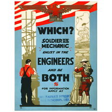 Which? Soldier or Mechanic Recruiting Poster Deco FRIDGE MAGNET, 1919 Army